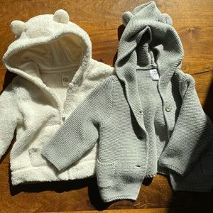 Baby Gap cardigan and Sherpa zip bundle 6-12m